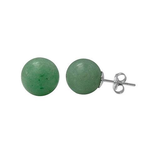 Sterling Silver with Green Aventurine Stud Earrings