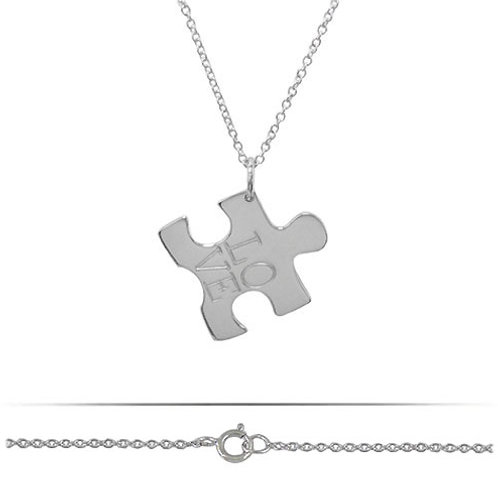 Rhodium Plated Sterling Silver Autism Awareness Puzzle Charm Pendant Necklace