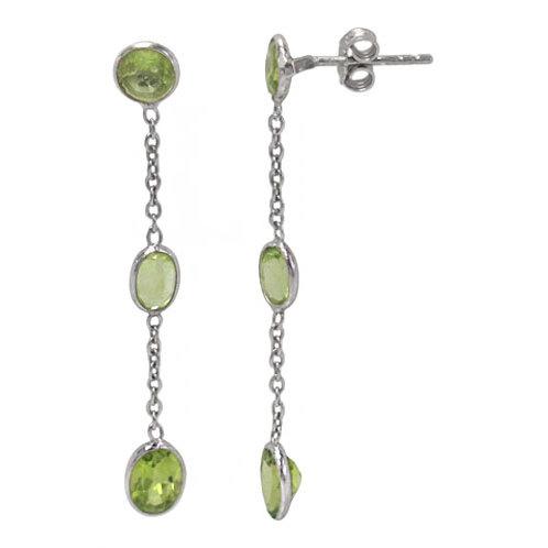 Rhodium Plated Sterling Silver Peridot Dangle Earrings