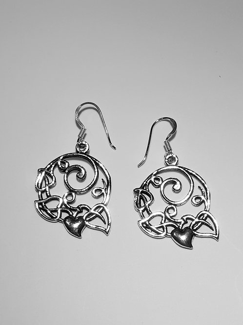 Sterling Silver Heart with Spiral Earrings