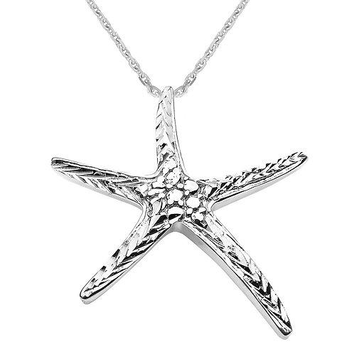 10K White Gold Diamond Cut Starfish Pendant