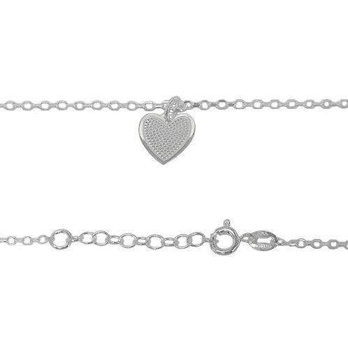 Sterling Silver Heart Anklet (Made in Italy)
