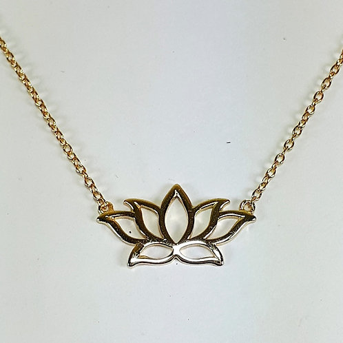 Yellow Gold Plated Sterling Silver Lotus Pendant Necklace