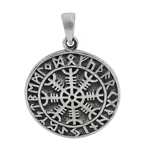 Sterling Silver Helm of Awe (Norse) Pendant