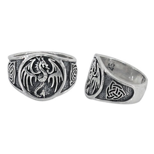 Sterling Silver Dragon with Triquetra Ring (Size 9)