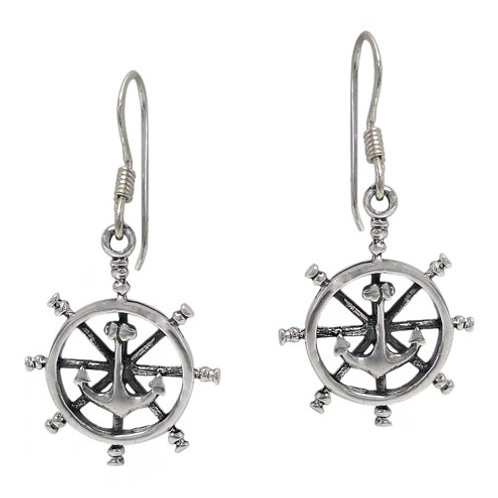 Sterling Silver Wheel with Anchor Earrings
