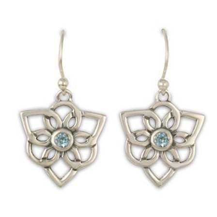 Sterling Silver Trillium  with Blue Topaz Gemstone Earrings