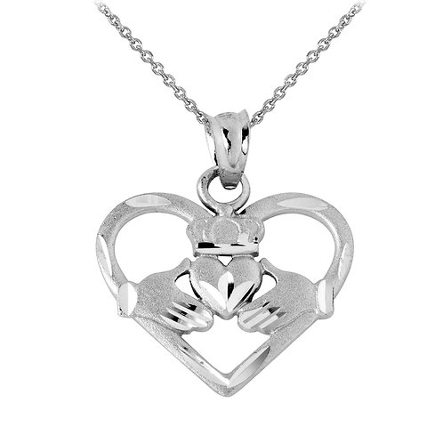 Rhodium Plated Heart Shaped Claddagh Pendant