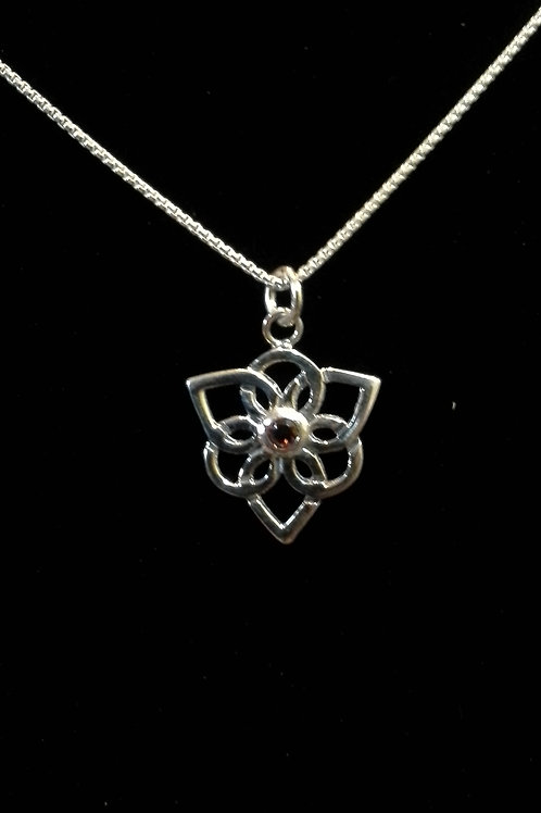 Sterling Silver Trillium  with Garnet Gemstone Pendant Necklace