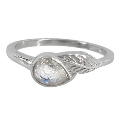 Rhodium Plated Sterling Silver Leaf with Rainbow Moonstone Ring