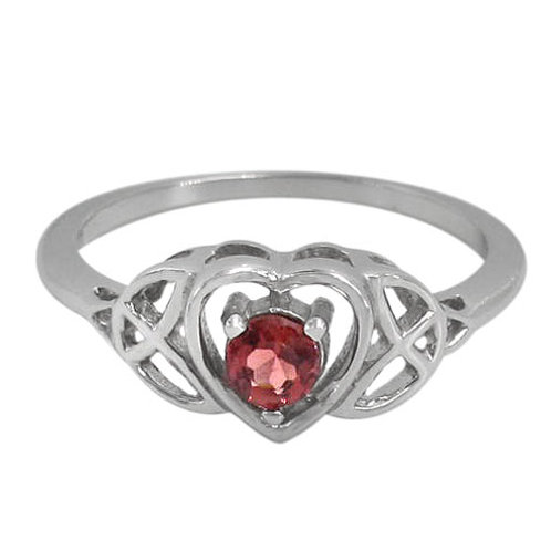 Rhodium Plated Sterling Silver Triquetra with Garnet Ring