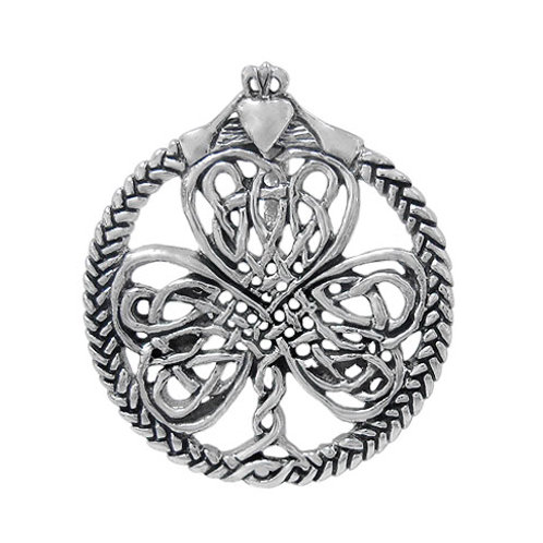 Sterling Silver Claddagh with Celtic Clover Pendant