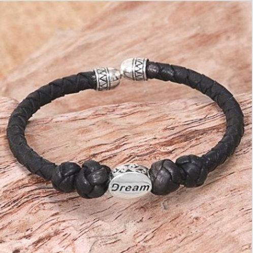"Sterling Silver ""Dream"" Pendant on Black Leather Cuff Adjustable Bracelet"