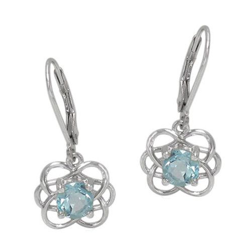Rhodium Plated Sterling Silver Celtic Knots with Blue Topaz Earrings