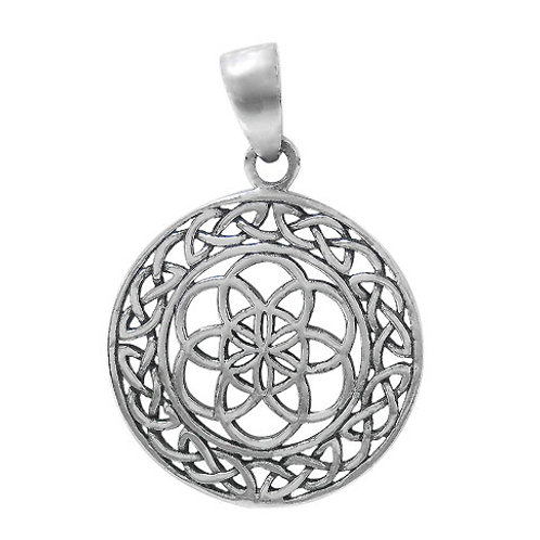 Sterling Silver Seed of Life with Celtic Knots Pendant