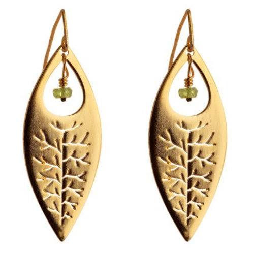 22K Yellow Gold Plated with Peridot Ellipse Earrings