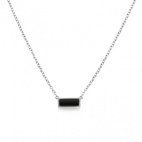 Sterling Silver Onyx Bar Pendant Necklace