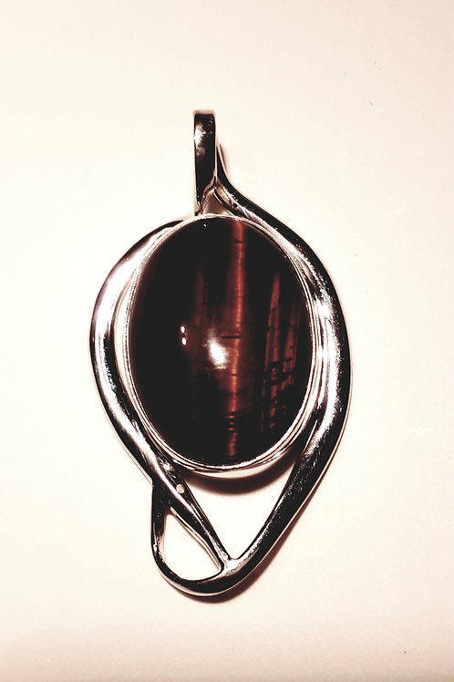 Sterling Silver Oval Tiger Eye Pendant