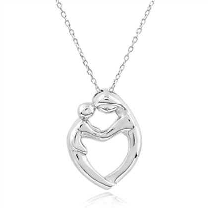 Rhodium Plated Sterling Silver Mother and child Pendant
