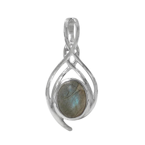 Rhodium Plated Sterling Silver Labradorite Pendant