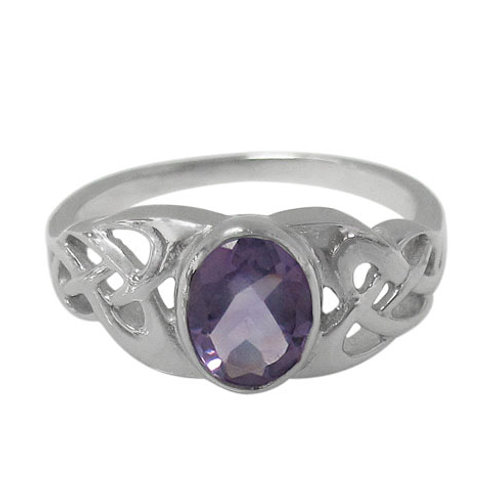 Rhodium Plated Sterling Silver Celtic Knot with faceted oval Amethyst Ring