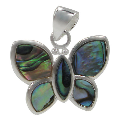 Sterling Silver Butterfly with Abalone Pendant