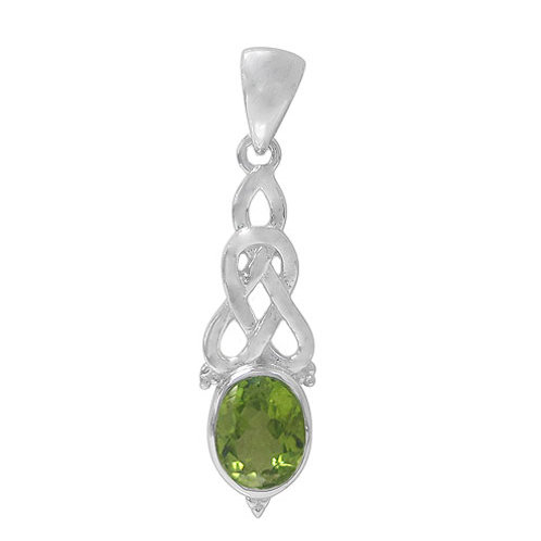 Rhodium plated Sterling Silver Celtic Knot with faceted oval Peridot Pendant