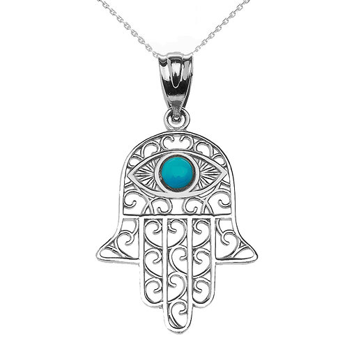 Sterling Silver Hamsa Hand With Turquoise Evil Eye Pendant