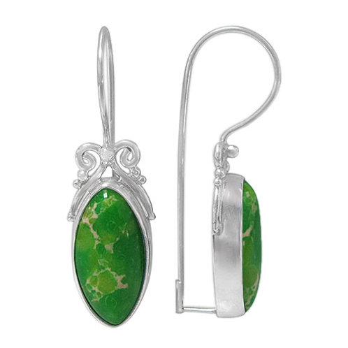 Sterling Silver Green Imperial Jasper Earrings