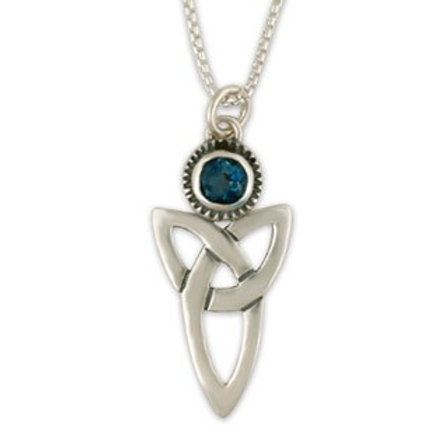 Sterling Silver Large Trinity with London Blue Topaz Gemstone Pendant Necklace