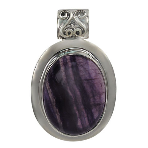 Sterling Silver Oval with Fluorite Pendant