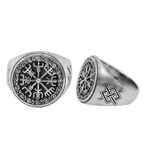 Sterling Silver Helm of Awe (Norse) Men's Ring (Size 10)