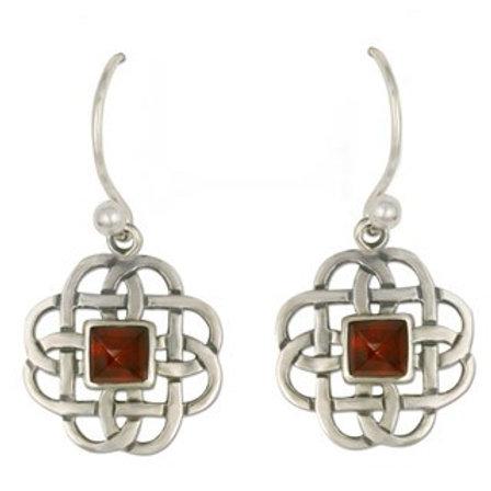 Sterling Silver Basket with Garnet Gemstone Earrings