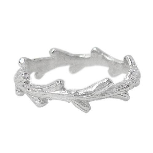 Rhodium Plated Sterling Silver Branch Ring (Size 6)
