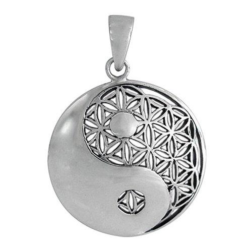 Sterling Silver Yin Yang & Flower of Life Pendant