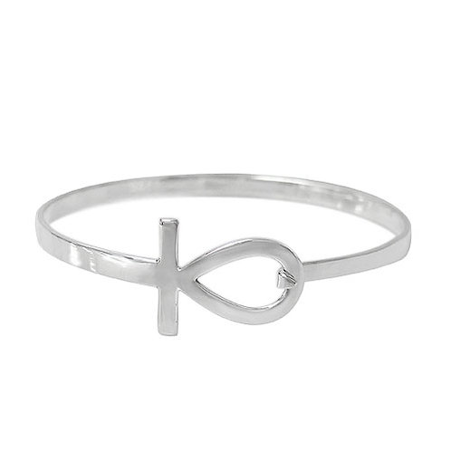 Sterling Silver Ankh Cross Bangle with hook closure