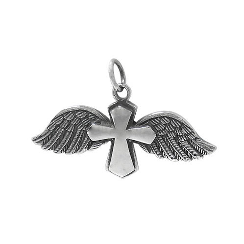 Sterling Silver Cross with Angel Wings Pendant