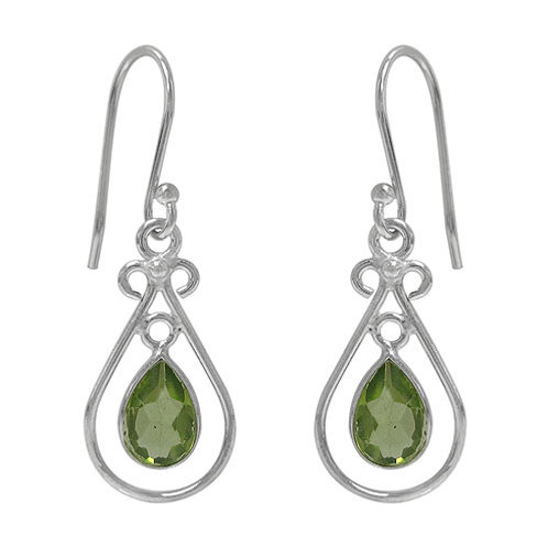 Rhodium Plated Sterling Silver Celtic Knot with faceted Peridot teardrop Earring