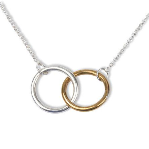 Inseparable Sterling Silver & Gold Dipped Cirles Pendant Necklace
