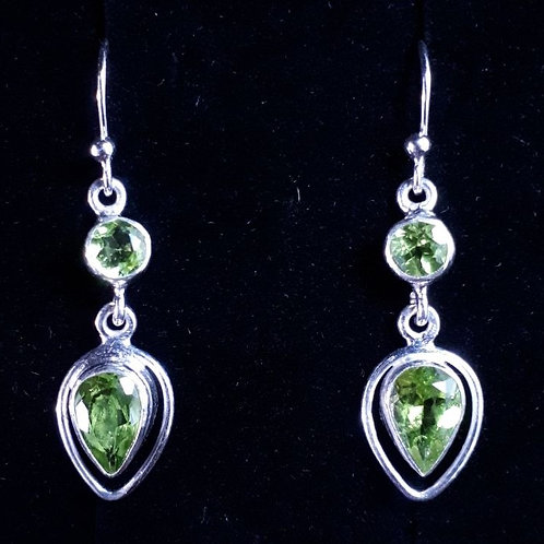 Sterling Silver Teardrop Earrings with Peridot