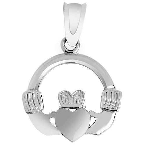 10K White Gold Claddagh Pendant Necklace