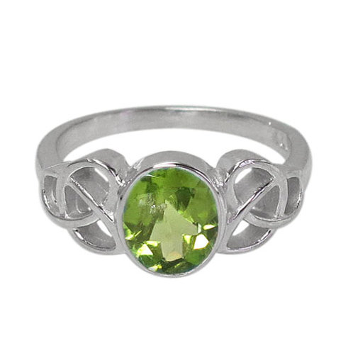 Rhodium Plated Sterling Silver Celtic Knot with faceted oval Peridot Ring