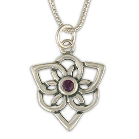 Sterling Silver Trillium with Amethyst Gemstone Pendant Necklace