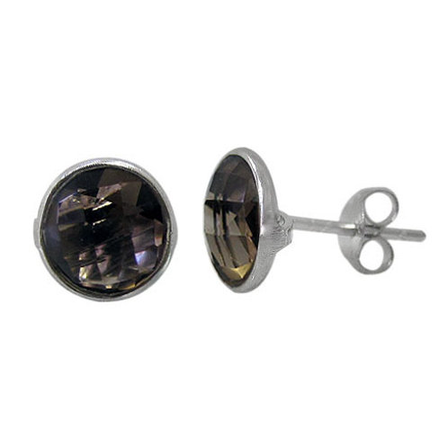 Sterling Silver Smoky Quartz Stud Earrings