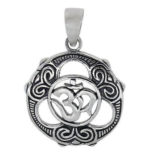Sterling Silver round shape OM Pendant