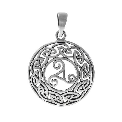 Sterling Silver Triskelion with Celtic Knots Pendant