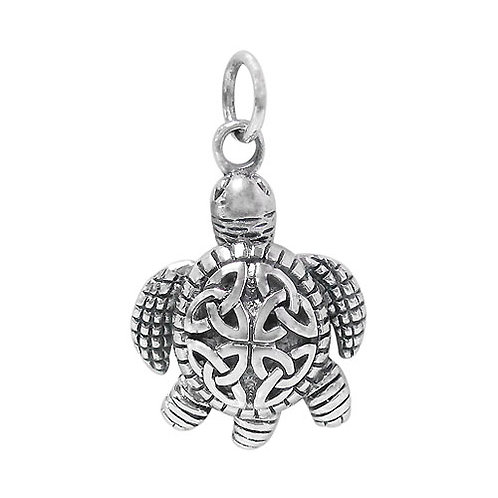 Sterling Silver Turtle with Celtic Trinity Knot Pendant