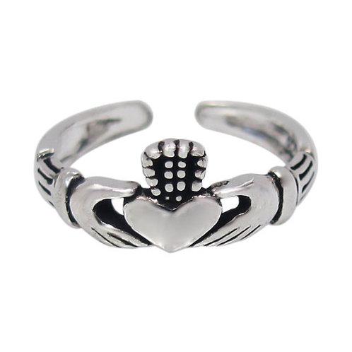 Sterling Silver Claddagh design adjustable Toe Ring