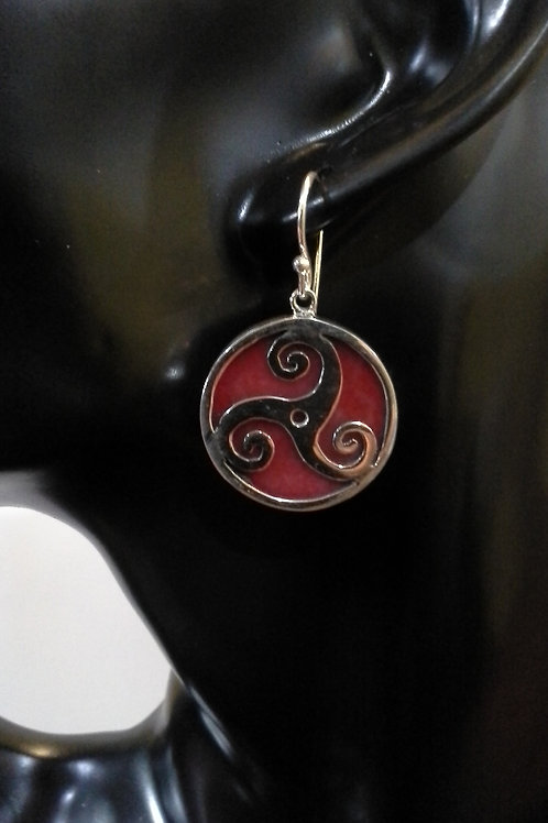 Sterling Silver Triskelion with Sponge Coral Earrings