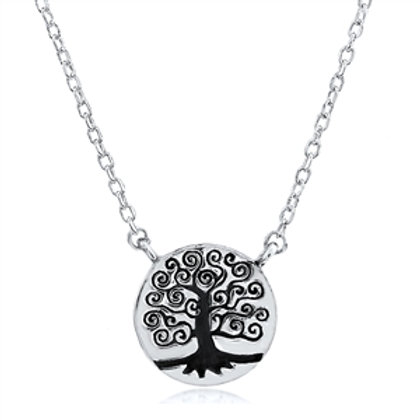 Rhodium Plated Sterling Silver Tree of Life Pendant Necklace